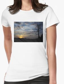 Sunset: Blue Glow Womens Fitted T-Shirt