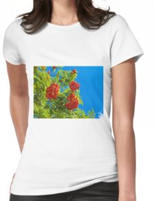 Rowan tree  with red berries Womens Fitted T-Shirt
