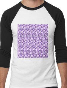 Light Purple Vintage Wallpaper Style Flower Patterns Men's Baseball ¾ T-Shirt