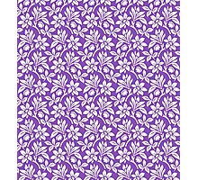 Light Purple Vintage Wallpaper Style Flower Patterns Photographic Print