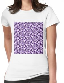 Purple Vintage Wallpaper Style Flower Patterns Womens Fitted T-Shirt