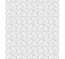 Light Grey Vintage Wallpaper Style Flower Patterns Photographic Print