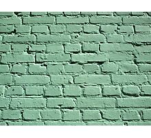 Detail of a green brick wall Photographic Print