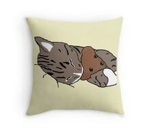 Sleepy Kitty With Teddy Bear Throw Pillow