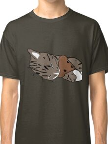 Sleepy Kitty With Teddy Bear Classic T-Shirt
