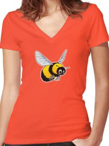 Happily Bumbling Bumble Bee Women's Fitted V-Neck T-Shirt