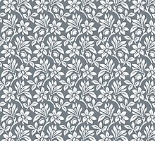 Cool Grey Vintage Wallpaper Style Flower Patterns by ImageNugget