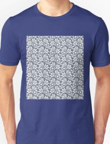 Cool Grey Vintage Wallpaper Style Flower Patterns T-Shirt