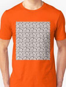 Cool Grey Vintage Wallpaper Style Flower Patterns T-Shirt