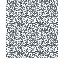 Cool Grey Vintage Wallpaper Style Flower Patterns Photographic Print