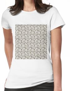 Warm Grey Vintage Wallpaper Style Flower Patterns Womens Fitted T-Shirt