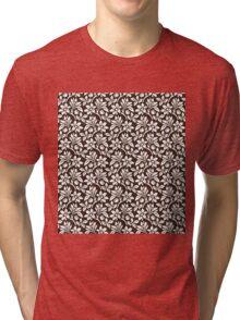Chocolate Vintage Wallpaper Style Flower Patterns Tri-blend T-Shirt