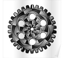 Black and white gearwheel Poster