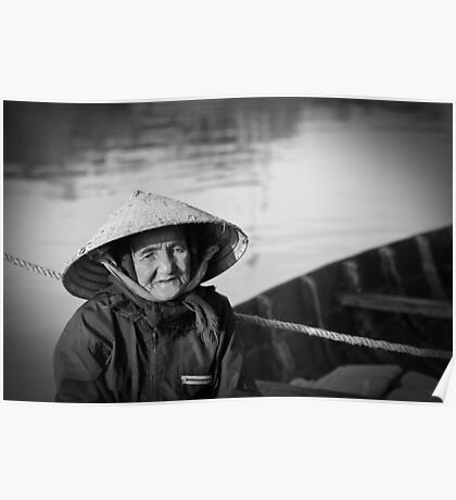 Vietnam - Begger on canoe in Hoi Ann Poster