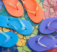 """Flip Out Color"" - flip flops on top of colorful tile by John Hartung"