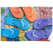 """Flip Out Color"" - flip flops on top of colorful tile Poster"
