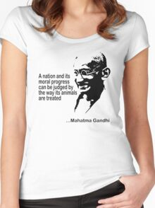Gandhi Animal Rights T-Shirt Women's Fitted Scoop T-Shirt