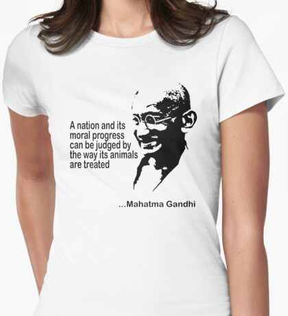 Gandhi Animal Rights T-Shirt Womens Fitted T-Shirt