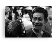 Vietnam - Man with winning Rooster from Cock-fight Canvas Print