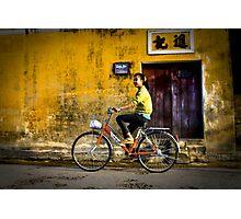 Vietnam - Girl riding bike in Hoi-Ann Photographic Print