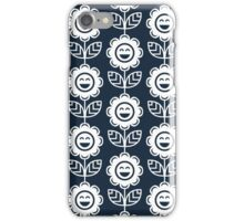 Navy Fun Smiling Cartoon Flowers iPhone Case/Skin