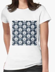 Navy Fun Smiling Cartoon Flowers Womens Fitted T-Shirt