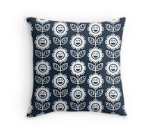 Navy Fun Smiling Cartoon Flowers Throw Pillow