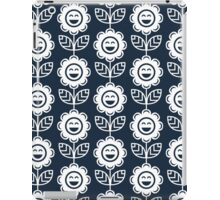Navy Fun Smiling Cartoon Flowers iPad Case/Skin