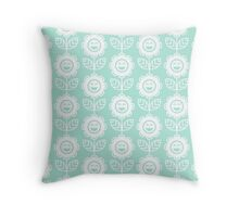 Mint Fun Smiling Cartoon Flowers Throw Pillow
