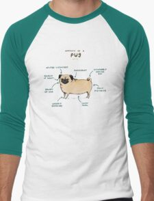 Anatomy of a Pug Men's Baseball ¾ T-Shirt