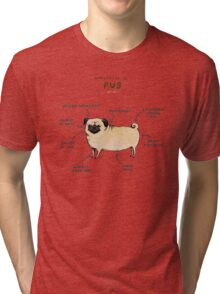 Anatomy of a Pug Tri-blend T-Shirt