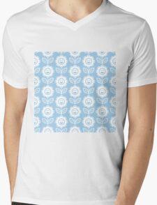 Light Blue Fun Smiling Cartoon Flowers Mens V-Neck T-Shirt