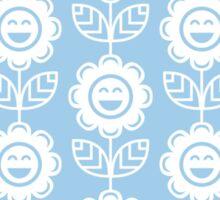Light Blue Fun Smiling Cartoon Flowers Sticker