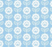 Light Blue Fun Smiling Cartoon Flowers by ImageNugget