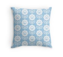 Light Blue Fun Smiling Cartoon Flowers Throw Pillow