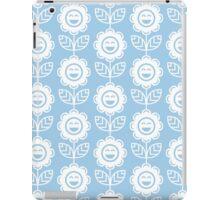 Light Blue Fun Smiling Cartoon Flowers iPad Case/Skin
