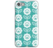 Teal Fun Smiling Cartoon Flowers iPhone Case/Skin