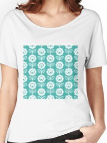 Teal Fun Smiling Cartoon Flowers Women's Relaxed Fit T-Shirt
