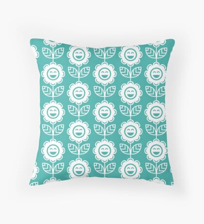 Teal Fun Smiling Cartoon Flowers Throw Pillow