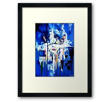 Abstract portrait - Three shapes coming out of blue Framed Print