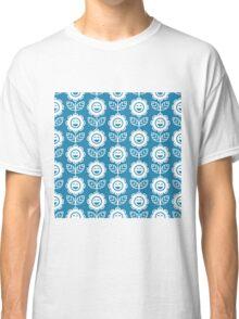 Blue Fun Smiling Cartoon Flowers Classic T-Shirt