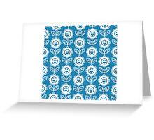 Blue Fun Smiling Cartoon Flowers Greeting Card