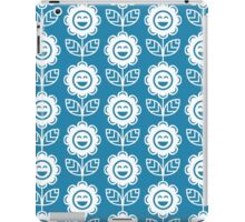 Blue Fun Smiling Cartoon Flowers iPad Case/Skin