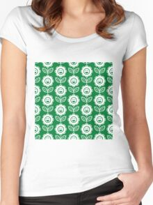 Green Fun Smiling Cartoon Flowers Women's Fitted Scoop T-Shirt