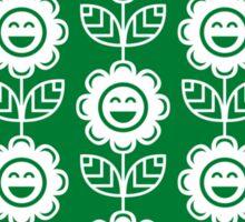 Green Fun Smiling Cartoon Flowers Sticker