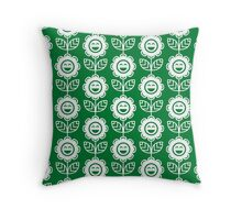 Green Fun Smiling Cartoon Flowers Throw Pillow