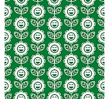 Green Fun Smiling Cartoon Flowers Photographic Print