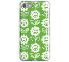 Grass Green Fun Smiling Cartoon Flowers iPhone Case/Skin
