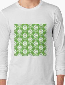 Grass Green Fun Smiling Cartoon Flowers Long Sleeve T-Shirt