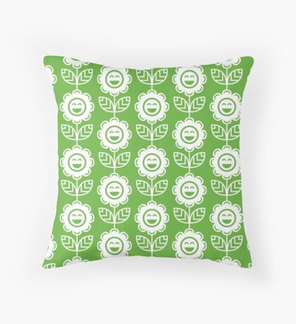 Grass Green Fun Smiling Cartoon Flowers Throw Pillow